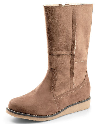 Faux Suede Panel Boots