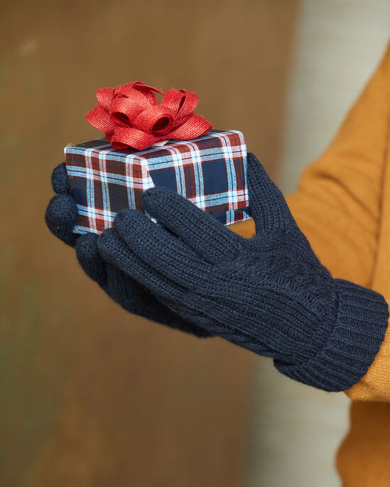 Mens Fleece Lined Cable Knit Gloves
