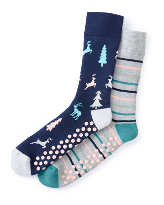 2pk Patterned Slipper Socks