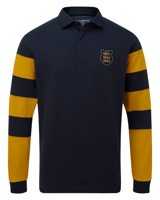 Three Lions Contrast Long Sleeve Rugby Shirt