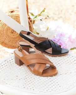 Stitch Detail Heeled Sandals