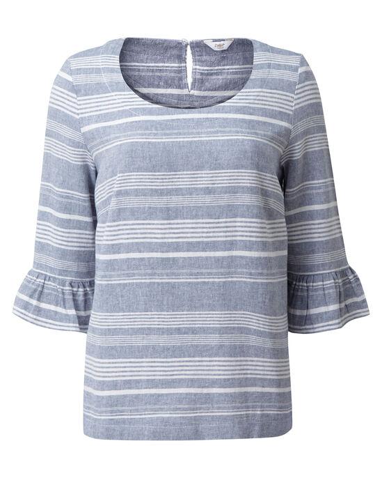 Linen-Blend Flute Sleeve Top