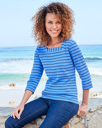Wrinkle Free 3/4 Sleeve Square Neck Stripe Top