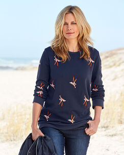 Longline Embroidered Sweatshirt