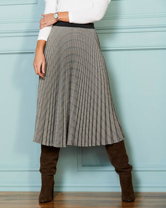 Check-Me-Out Pleated Midi Skirt