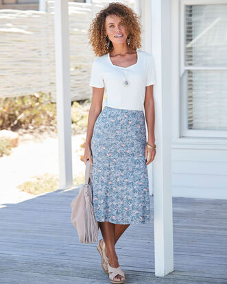 Printed Burn Out Skirt