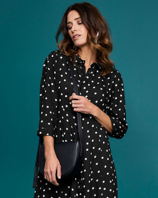 Spot Button-through Printed Dress