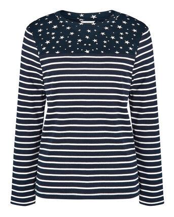 Wrinkle Free Long Sleeve Star Print Jersey Top
