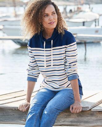 Funnel Neck Stripe Sweatshirt
