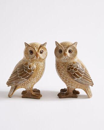 2 Wooden Carved Owls
