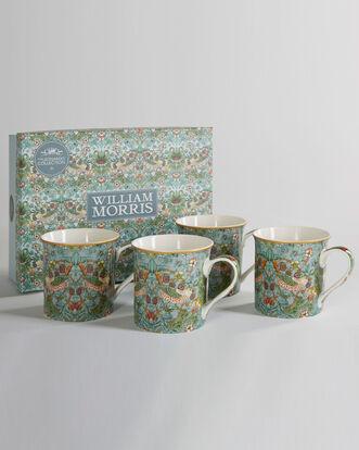 William Morris Strawberry Thief Set of 4 Mugs