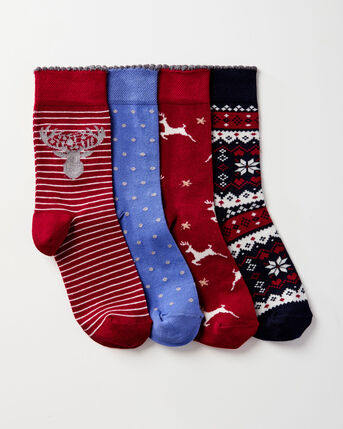 4 Pack Comfort Top Christmas Socks