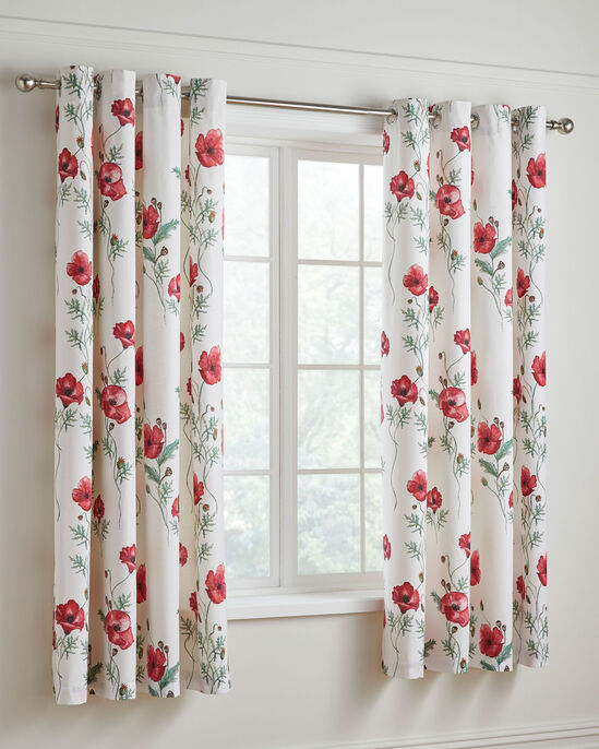Poppies Eyelet Top Curtains 66 X 72""