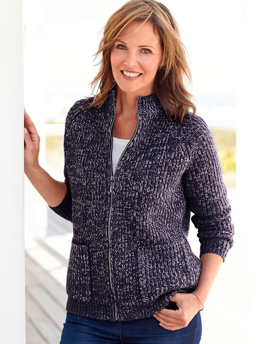 20e17be2a20b Chunky Knit Zip Front Cardigan at Cotton Traders