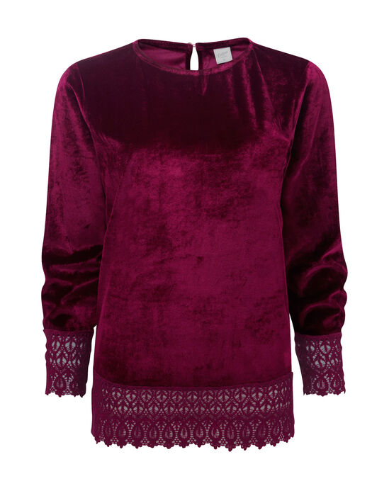 Velour Lace Trim Top