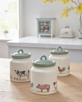 Set of 3 Country Farm Ceramic Containers