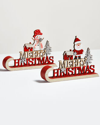 Pack of 2 Christmas Sledge Decorations