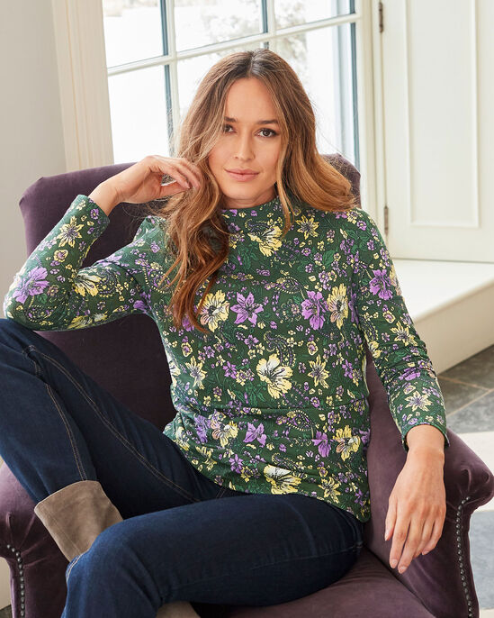 Chic Organic Floral Funnel Neck Jersey Top