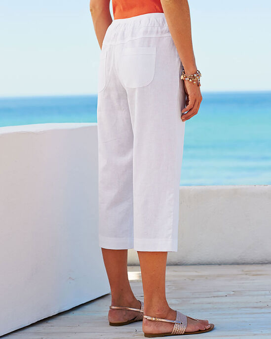 Linen Blend Drawcord Crop Trousers