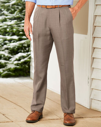 Pleat Front Check Comfort Trousers