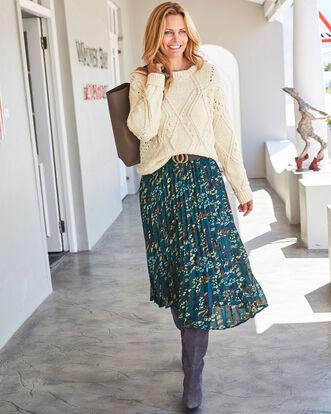Swishy Printed Pleated Skirt