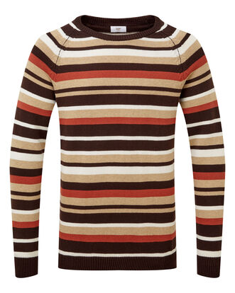 Dark Chocolate Stripe Cotton Crew Neck Jumper