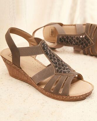 Sequin Detail Wedge Sandals