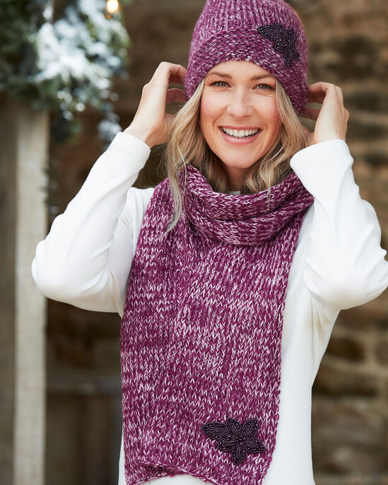 Embellished Hat and Scarf Set