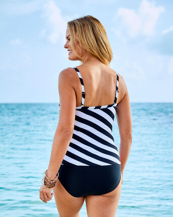Gathered Front Printed Tankini