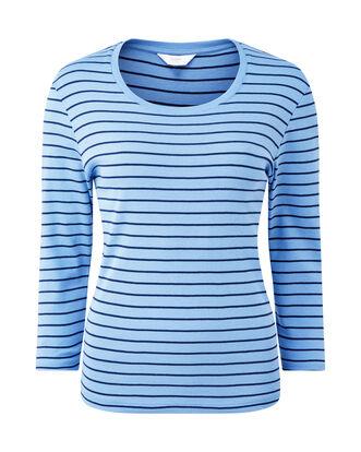 Wrinkle Free 3/4 Sleeve Stripe Scoop Neck Top