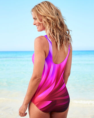High Neck Tummy Control Printed Swimsuit
