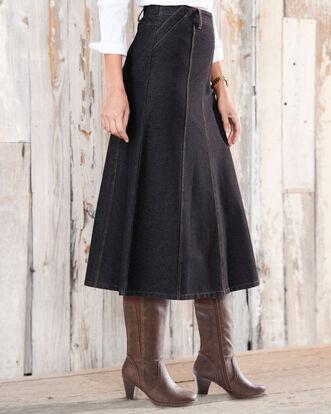 Pull-on Jersey Denim Midi Skirt