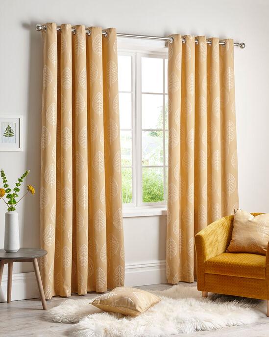 "Leaf Jacquard Eyelet Curtains 90X72"""