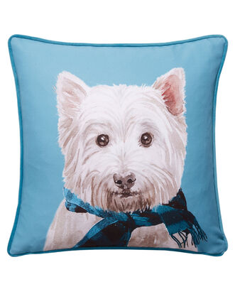 Dog With Scarf Cushion