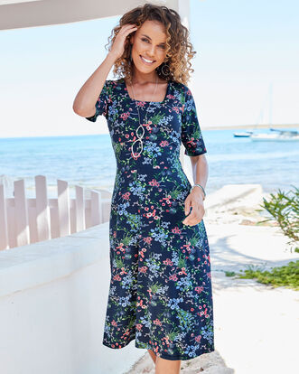 Multi Floral Tummy Control Printed Dress