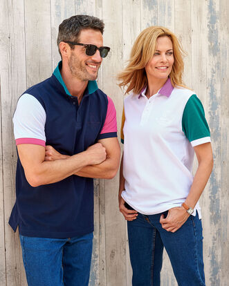 Short Sleeve Panelled Signature Polo Shirt