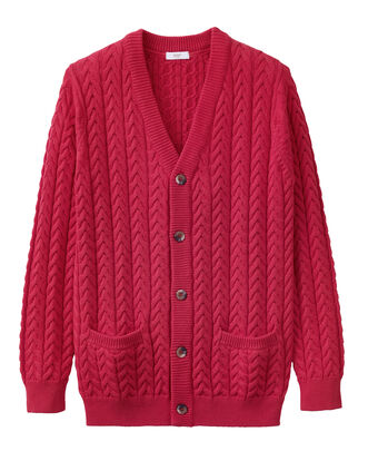 Cotton Cable Knit Button-through Cardigan