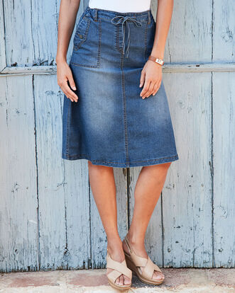 Pocket Detail Pull-on Skirt