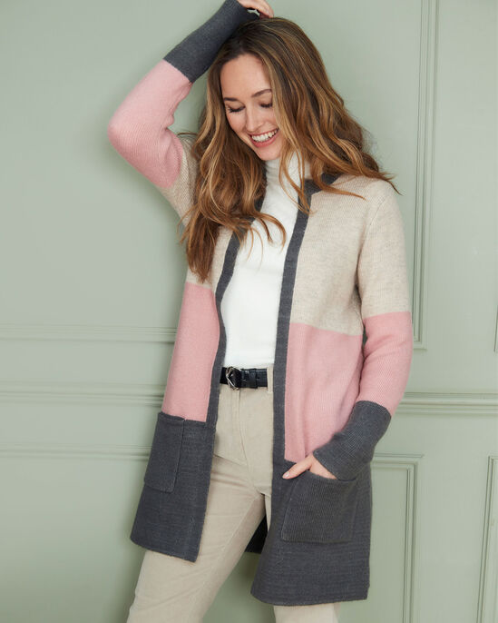 Forever Colourblock Longline Knitted Cardigan