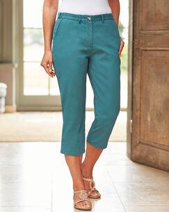 Wrinkle Free Adjustable Waist Crop Trousers
