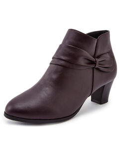 Bow Trim Side Zip Heel Ankle Boots