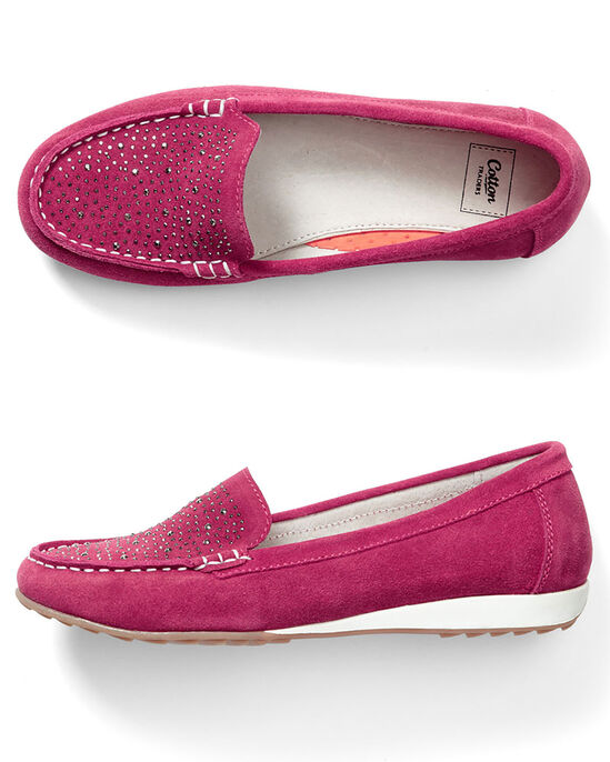 Suede Diamante Loafers