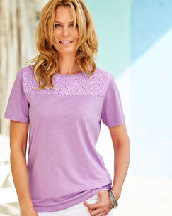 Broderie Trim Top