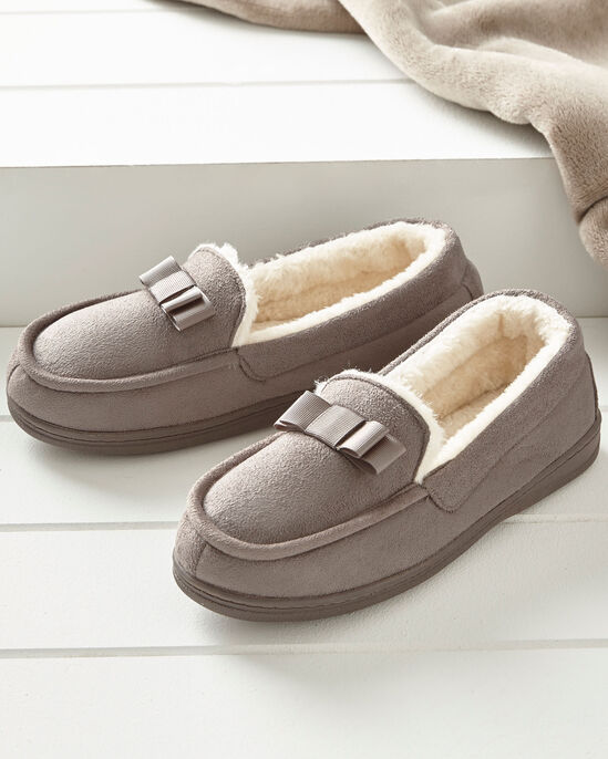 Bow Trim Moccasin Slippers