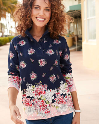 Floral Print Button Neck Printed Sweatshirt