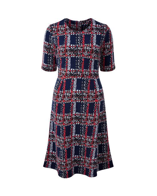 Textured Check Midi Dress