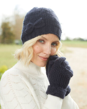 Bow Trim Fleece Lined Hat and Glove Set