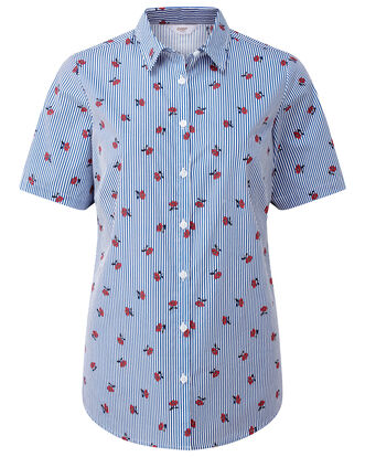 Stripe Wrinkle Free Short Sleeve Shirt