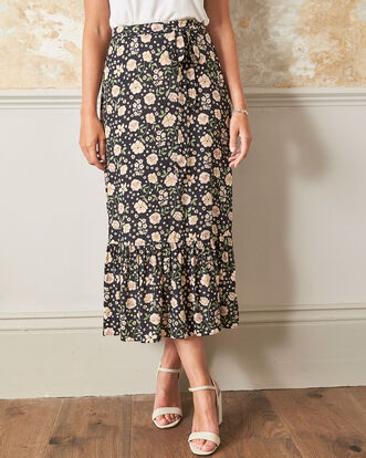 Ruffle Front Floral Print Skirt