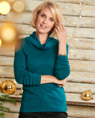Wrinkle Free Cowl Neck Top